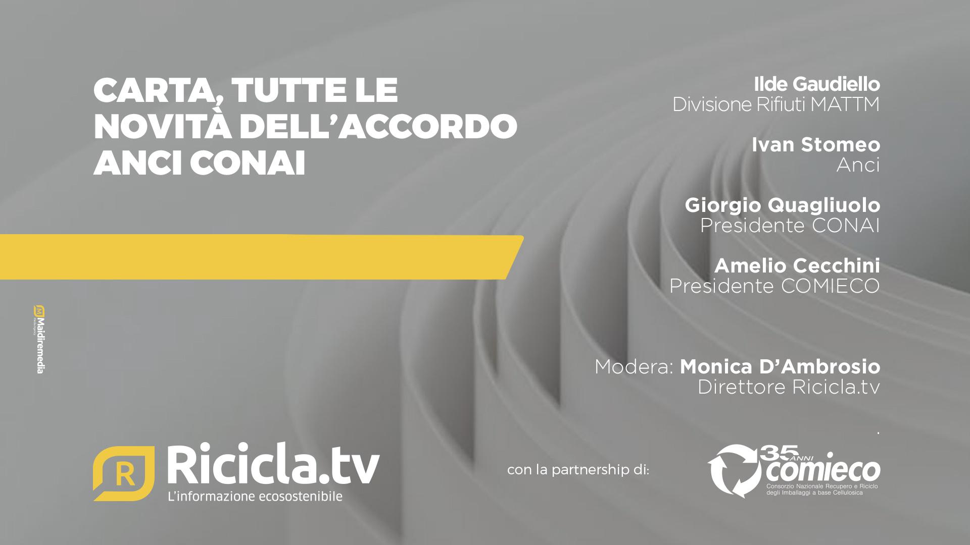 CARTA, TUTTE LE NOVITA' DELL'ACCORDO ANCI-CONAI